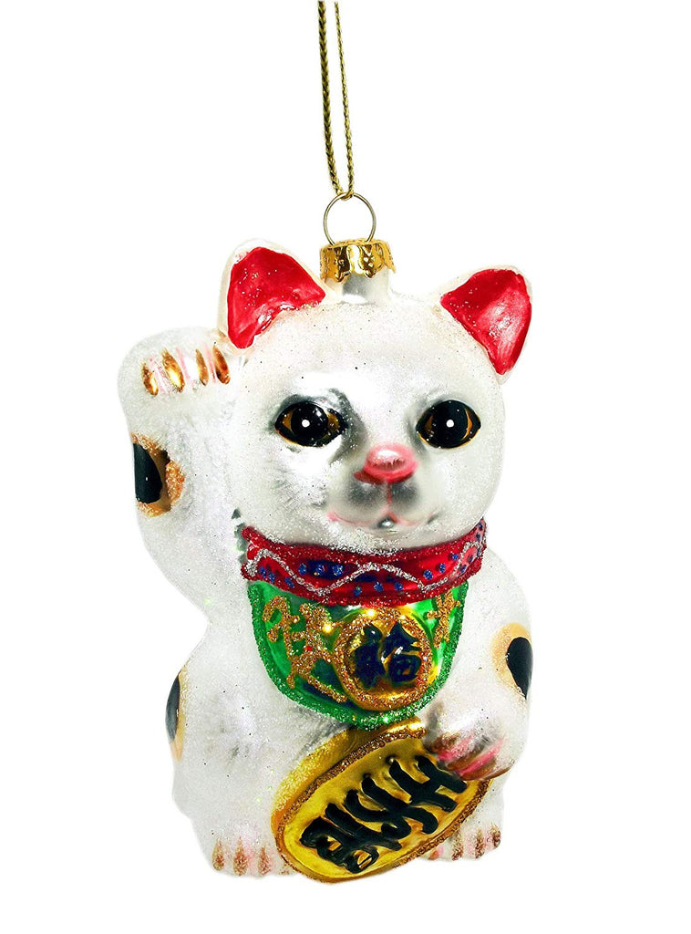 "4"" Glittered Chinese Money Cat Ornament"