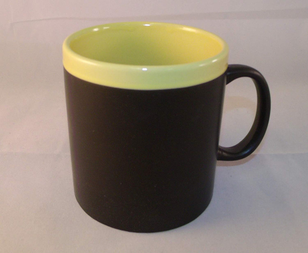 Chalkboard Oversize 16 oz Ceramic Mug with Yellow Interior