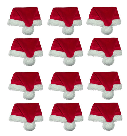 Santa Hat Plush Mini Hats 5in - 12 count
