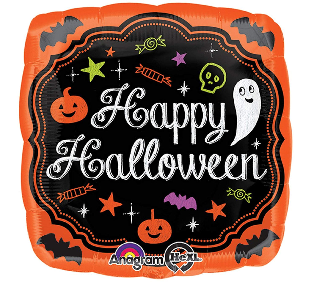 "17"" Happy Halloween Square Chalkboard Balloon"