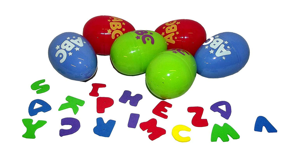 Easter Alphabet Hollow Eggs with Foam Letter Confetti, 6 count