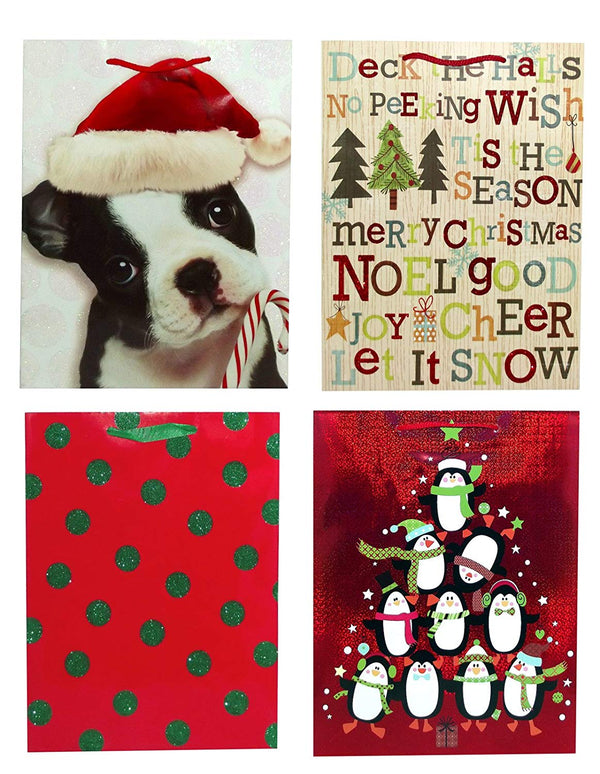 "10"" x 13"" Christmas Gift Bags, Assorted - Styles Vary"
