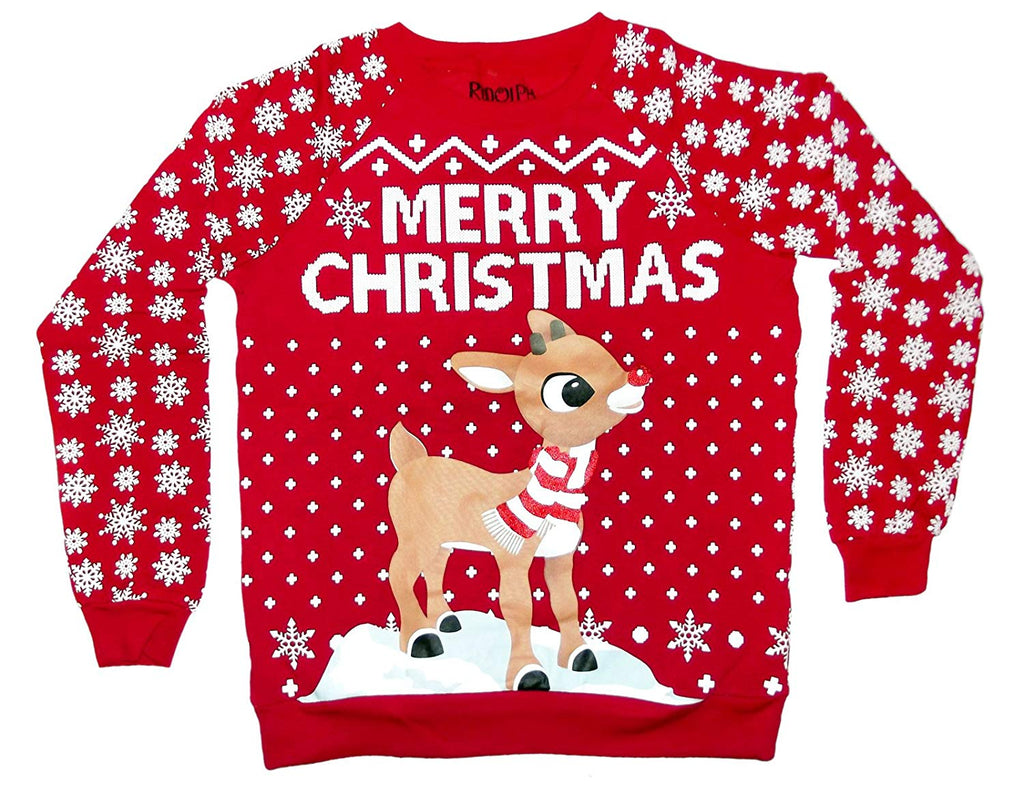 Rudolph The Red-Nosed Reindeer Juniors Merry Christmas Sweater (Large)