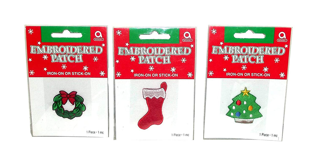 Amscan Embroidered Christmas Patch, 1 count, Assorted