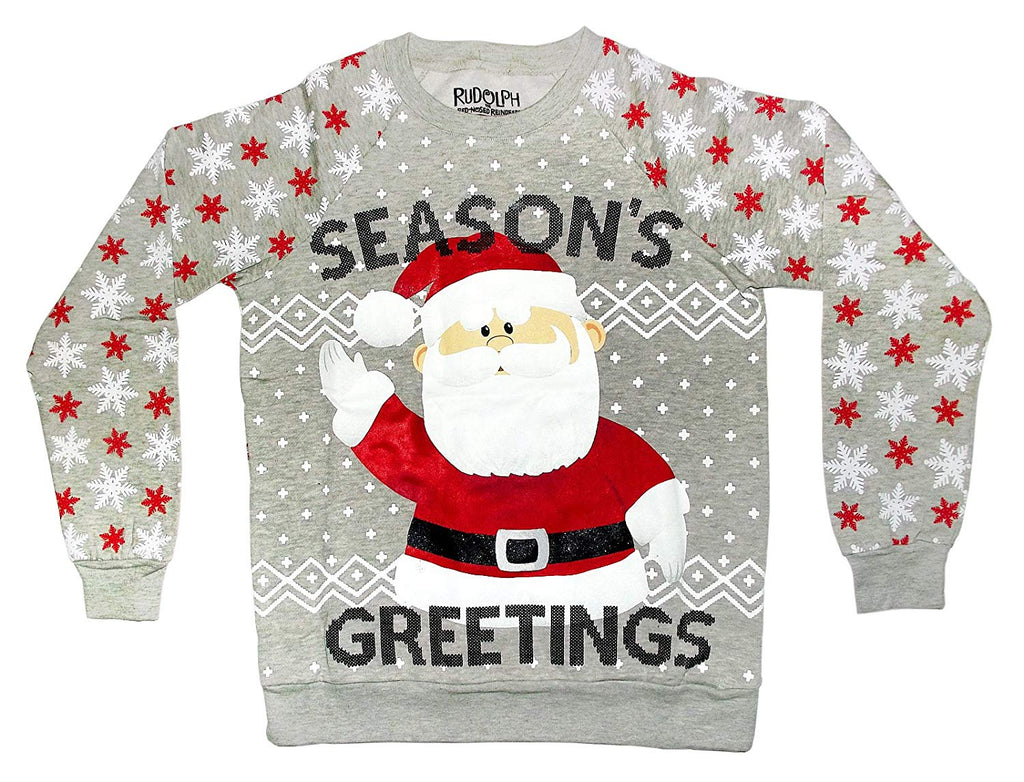 Rudolph The Red-Nosed Reindeer Santa Season's Greetings Sweater (Small)