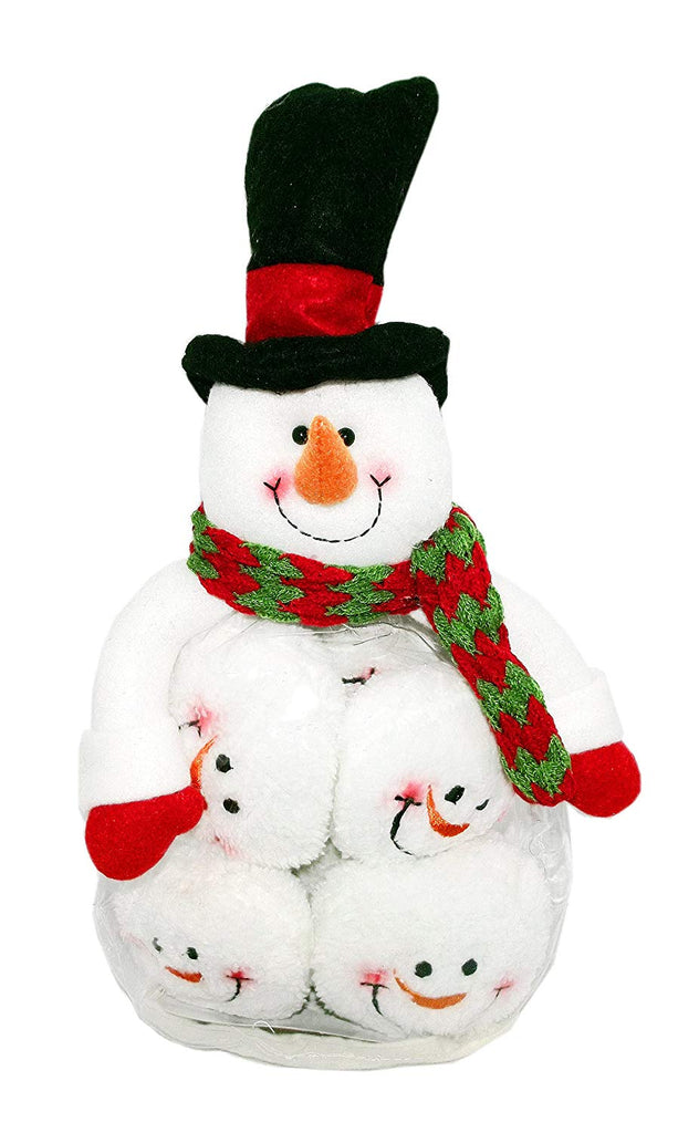Snowman Figure Snowball Fight Fun Set (Red Striped Hat)