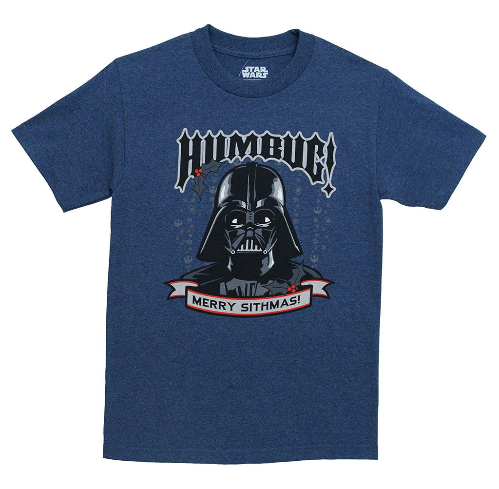 Merry Sithmas Christmas Darth Vader Humbug Star Wars Movie Adult T-Shirt Tee,Heather Navy,Small