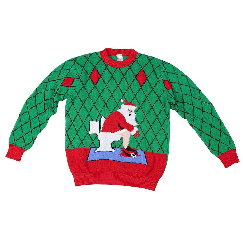 Toilet Santa Ugly Christmas Sweater-FunQi, Green