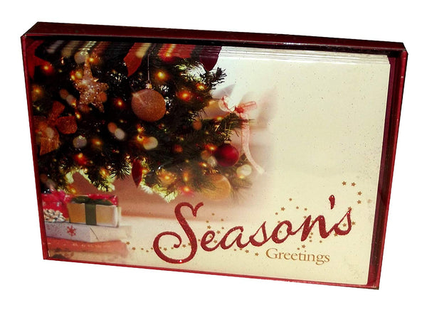 Season's Greetings Under the Tree Holiday Boxed Cards-Set of 14