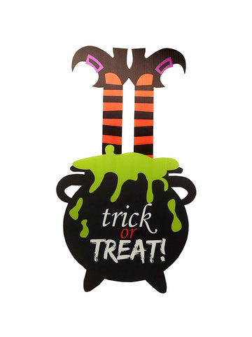 Aahs Engravings Trick or Treat Witch Cauldron Sign
