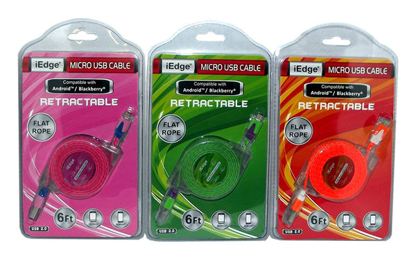 Retractable 2.0 Micro USB Cable For Android & Blackberry, Assorted - Colors Vary