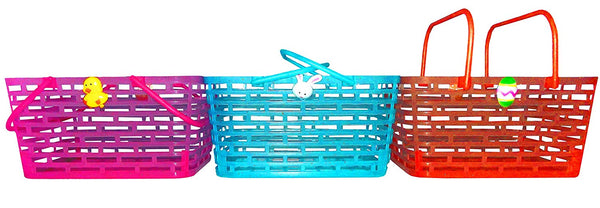 Easter Glitter See-Through Basket 4 x 6.5 x 8 Inches, Assorted - Styles/Colors Vary