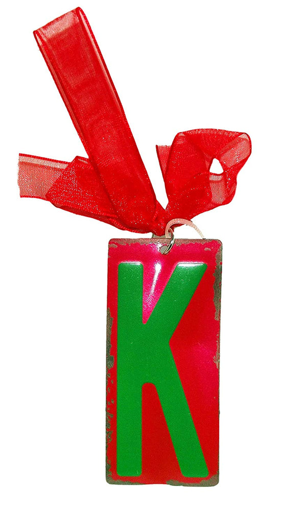Green Initial License Plate Ornament - Letter K