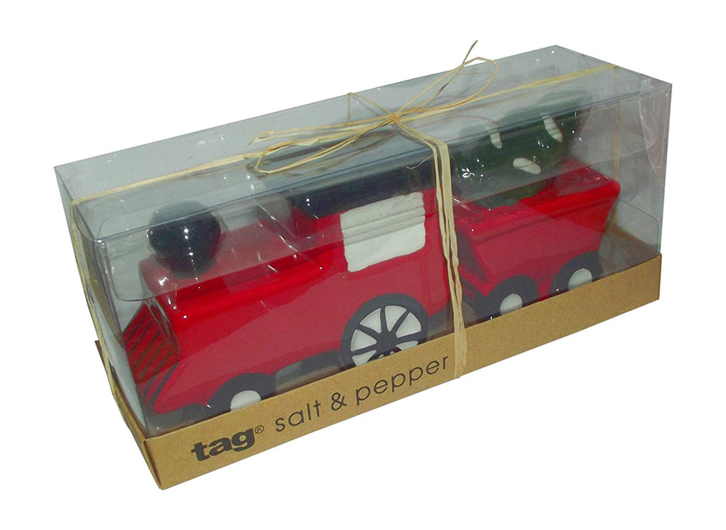 Tag Christmas Vintage Train with Christmas Tree Party Salt & Pepper Shaker Set