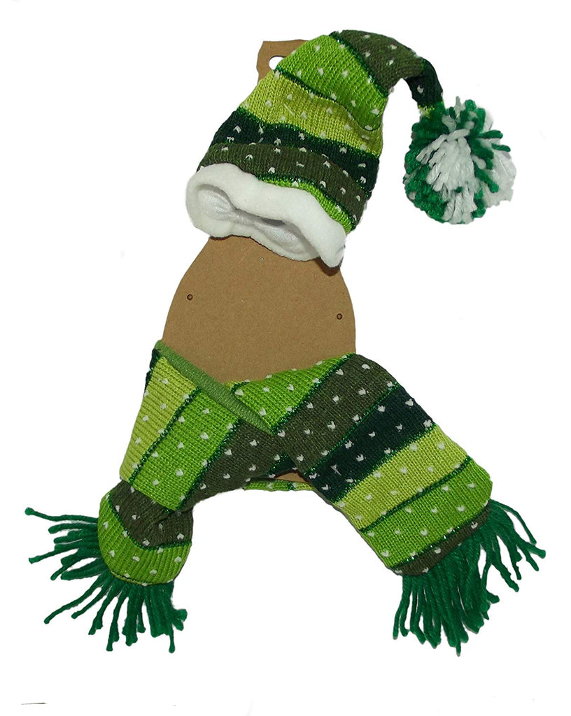 Homespun Creations Christmas Hat and Scarf Bottle Dress Up Accessory (Green Knit)
