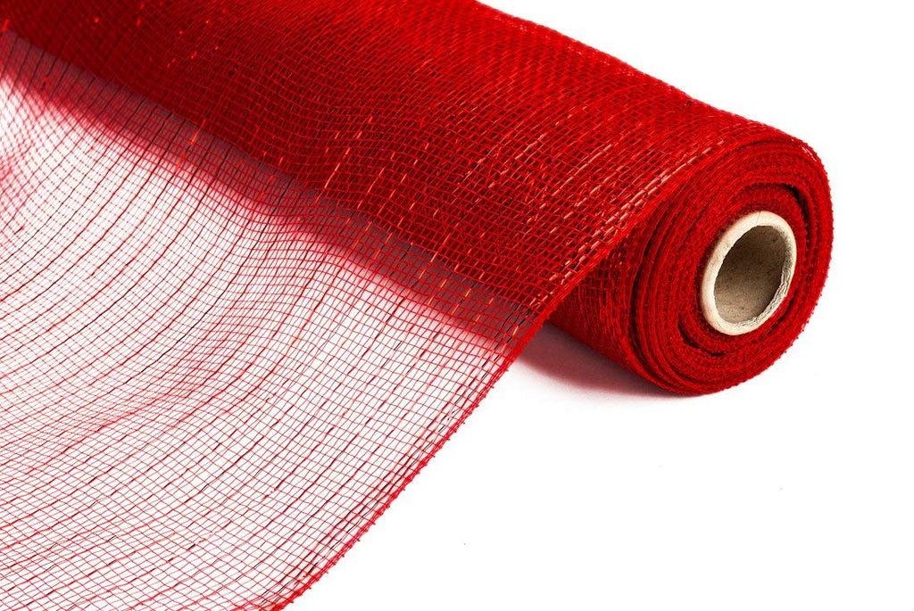 Red with Metallic Red Stripes 15-Foot Decorative Mesh Fabric