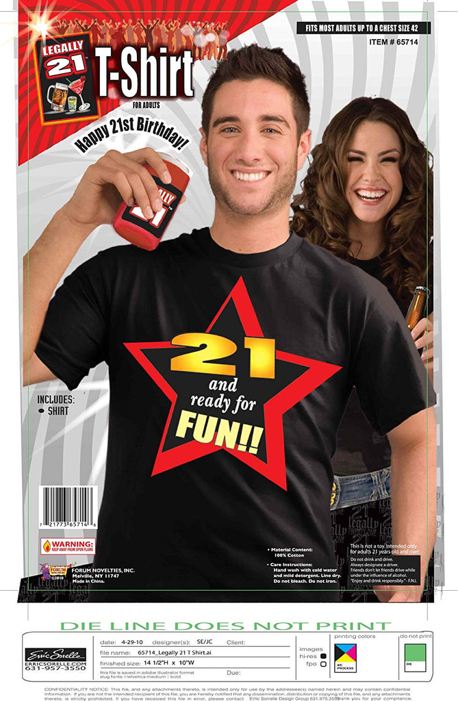 Forum Novelties Legally 21 and Ready for Fun Tee