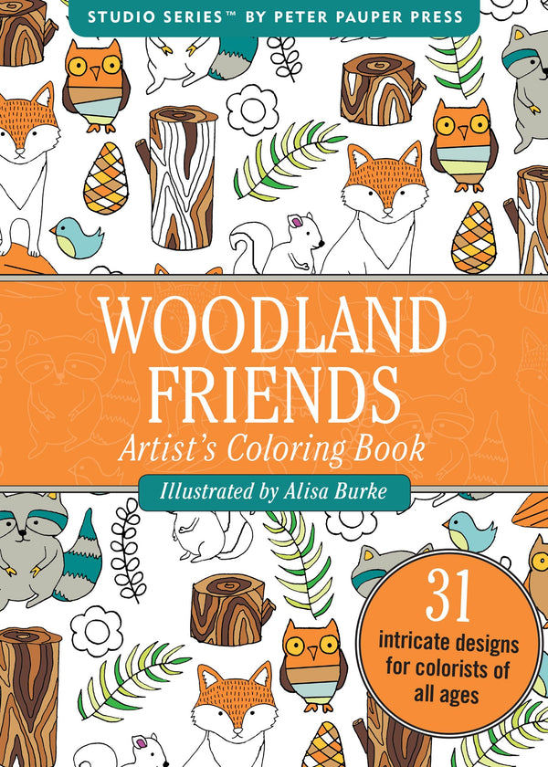 Woodland Friends Portable Adult Coloring Book (31 stress-relieving designs) (Studio Series)