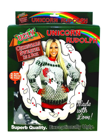 Unicorn Rudolph Ugly Christmas Sweater In A Box