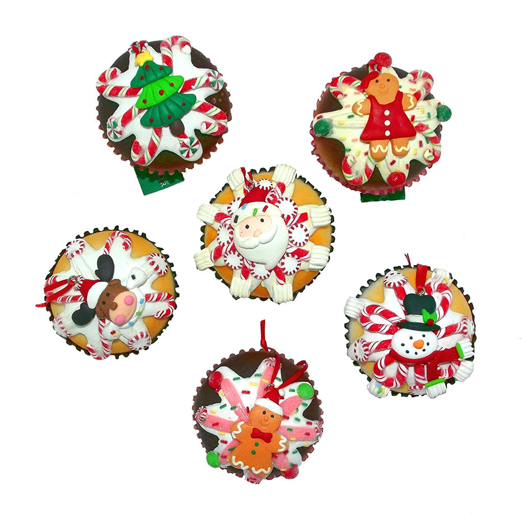 Kurt Adler 6 Assorted Claydough Foam Cupcake Ornaments (Includes 1: styles vary)