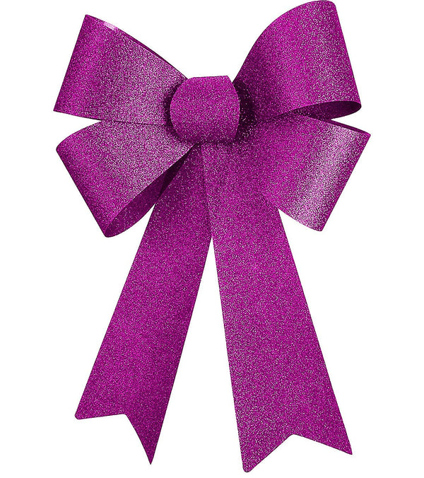 "12"" Glitter Christmas Bow (Pink)"