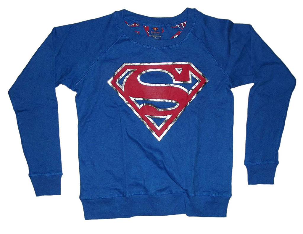 BIO World Merch DC Comics Superman Foil Logo Juniors Reversible Blue Longsleeve Sweatshirt (SMALL)