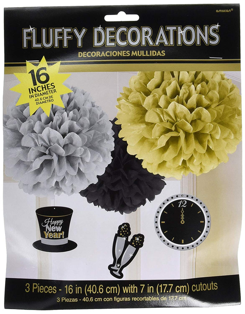Amscan Rocking New Year Party Fluffy Lantern with Danglers Hanging Decoration, Black/Gold/Silver, Paper , Pack of 3 Party Supplies