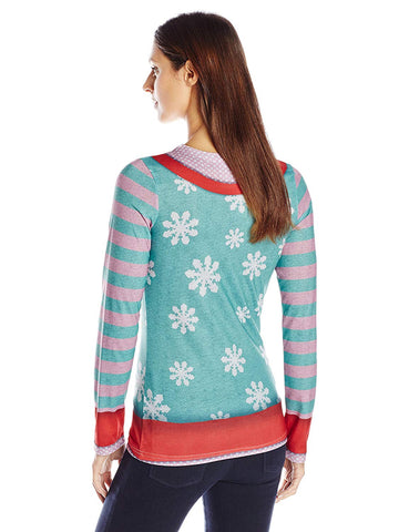 Faux Real Women's Wiener Wonderland Ugly Holiday Sweater Long Sleeve T-Shirt