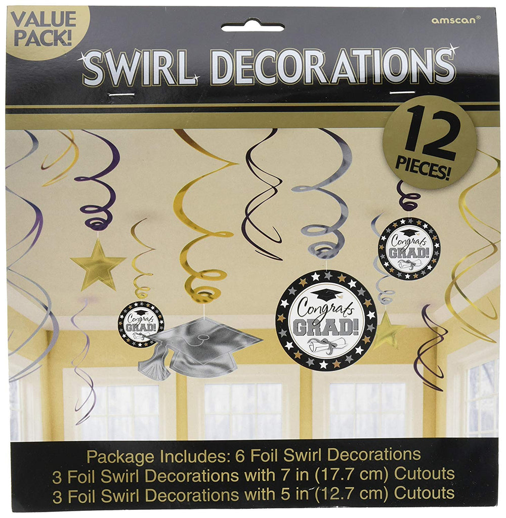 Grad Foil Value Pack Swirl Decorations - Black, Silver & Gold
