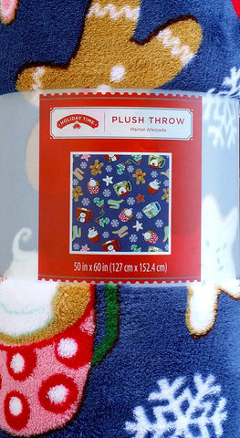 Holiday Time Mugs and Mittens Plush Fleece Throw Blanket 50 X 60 Inch