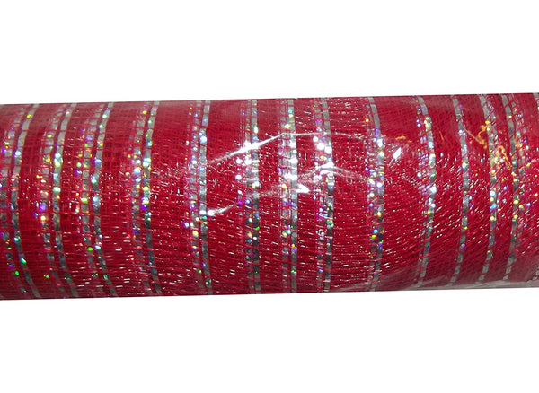 10.5in x 18ft Fabric Mesh Decorative Roll (Red/Silver)
