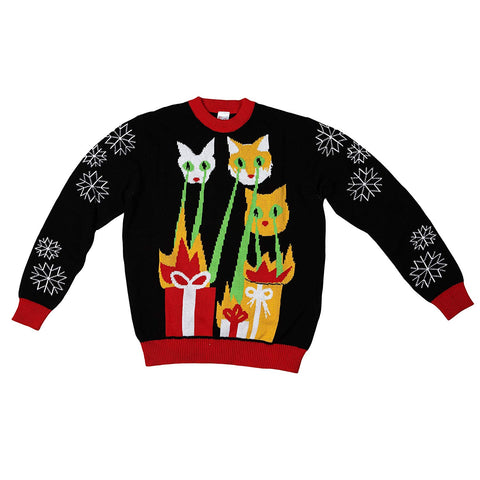 Laser Cat-Zillas Ugly Christmas Sweater-FunQi, Black