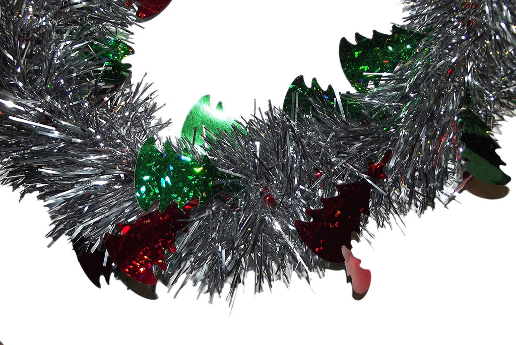 8ft Holiday Christmas Tinsel Garland (Silver with Red & Green Trees)