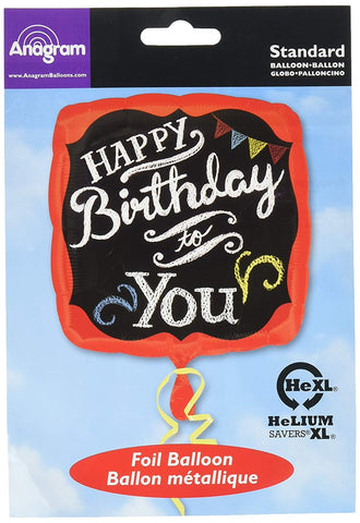Anagram International Hx Chalkboard Happy Birthday Balloon, Multicolor