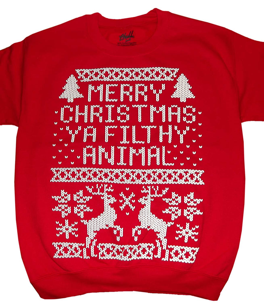 Merry Christmas Ya Filthy Animal Pixel Mens Christmas Sweater
