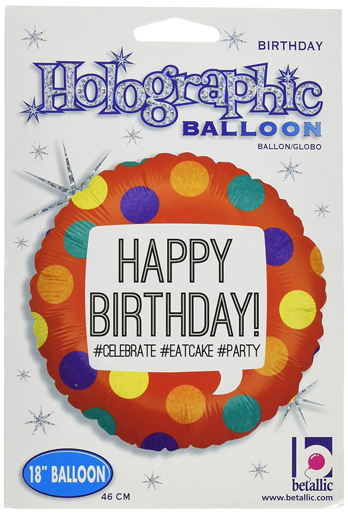 Betallic Hashtag Birthday Holo Package Balloon, 18""