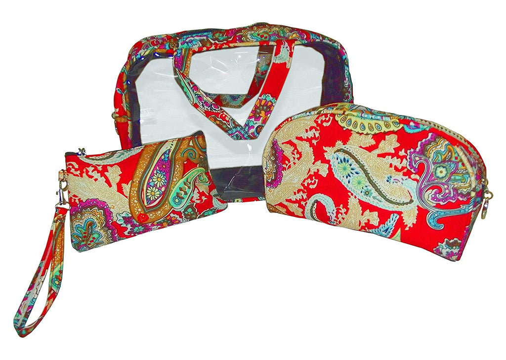 "2 Moda 3 Piece Floral Paisley Red Cosmetic Bag Set (8"" x 10"" x 4"")"