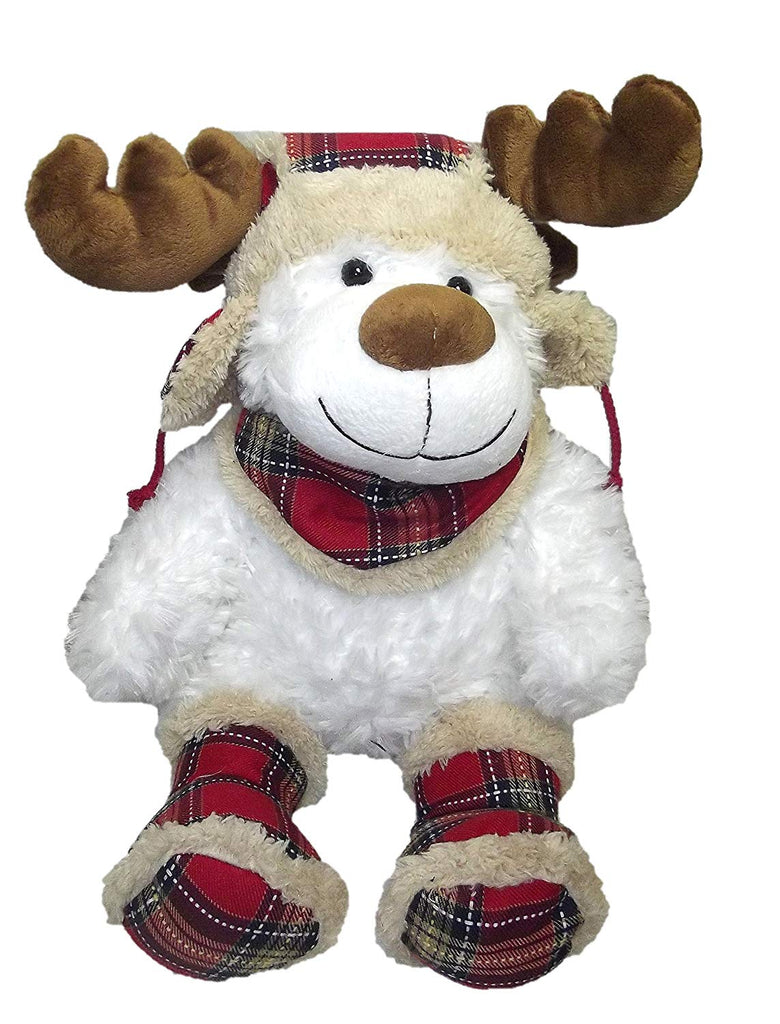 HOLIDAY PLUSH WHITE REINDEER WEARING RED PLAID