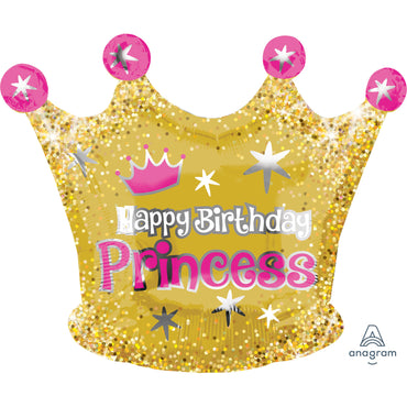 18inch Gold Crown Happy Birthday Princess Junior Shape Foil Balloon