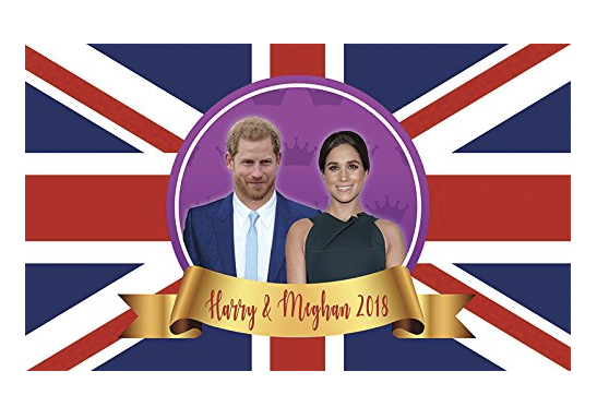 Aahs Engraving Prince Harry and Meghan Markle Royal Wedding Commemorative Flag, 5 X 3 feet