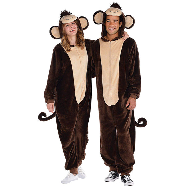 AMSCAN Zipster Monkey One Piece Pajama Halloween Costume for Adults, Small/Medium, with Attached Hood and Tail