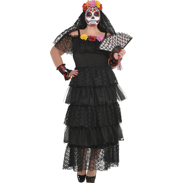 Suit Yourself Day of the Dead Dress for Adults, Plus Size, Off-the-Shoulder Maxi Dress with Black Lace and Mesh