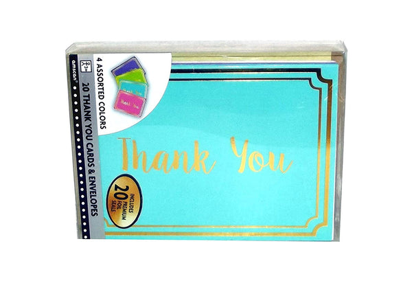 Thank You Cards party-invitations One Size Multi-Colored [20 Per Pack]