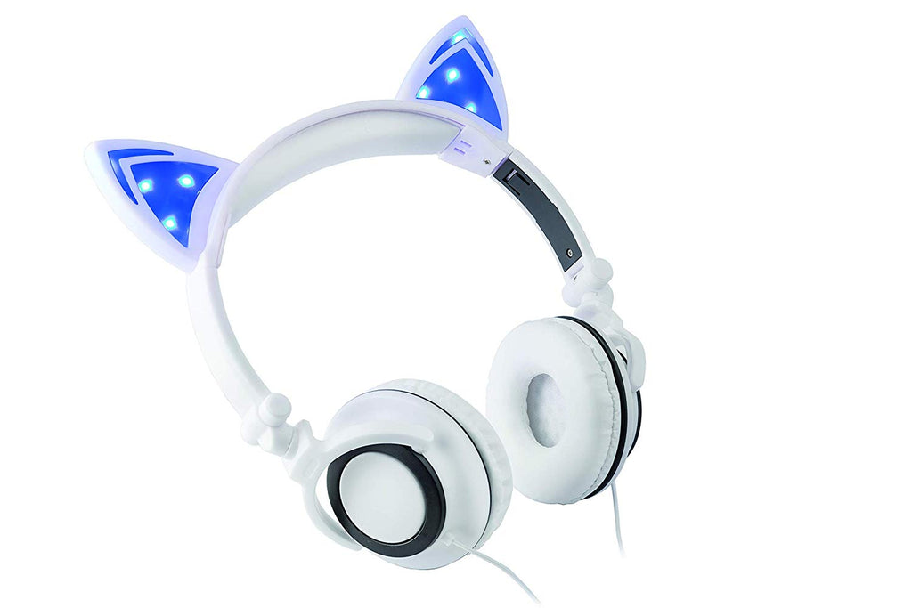 Headphone Over The Ear On The Head Light Up Cat Ear Feline Premium Quality Audio with Super Bass Comfort Padded Ear Cups Foldable 3.5MM Connector (White Cat Headphone)