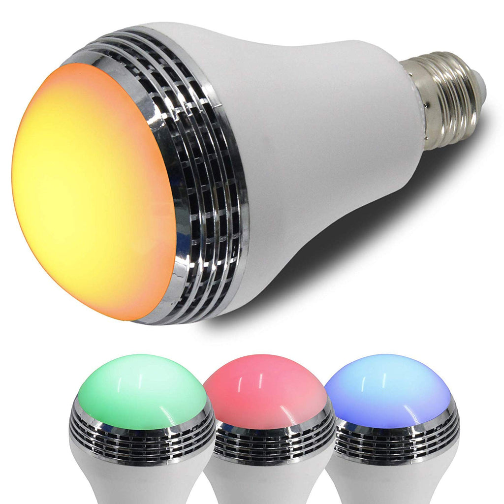 LED Color Mood Changing Energy Efficient Light Bulb w/Wireless Bluetooth Music Player Speakers Quality, Remote Control Included Adjust Multicolored Lights, Parties Dorm Rooms (Mood Music Light Bulb)