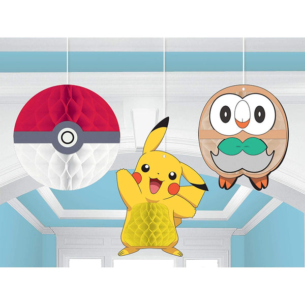 Pokemon Core Pikachu Honeycomb Decorations - 3 piece Birthday Party Supplies