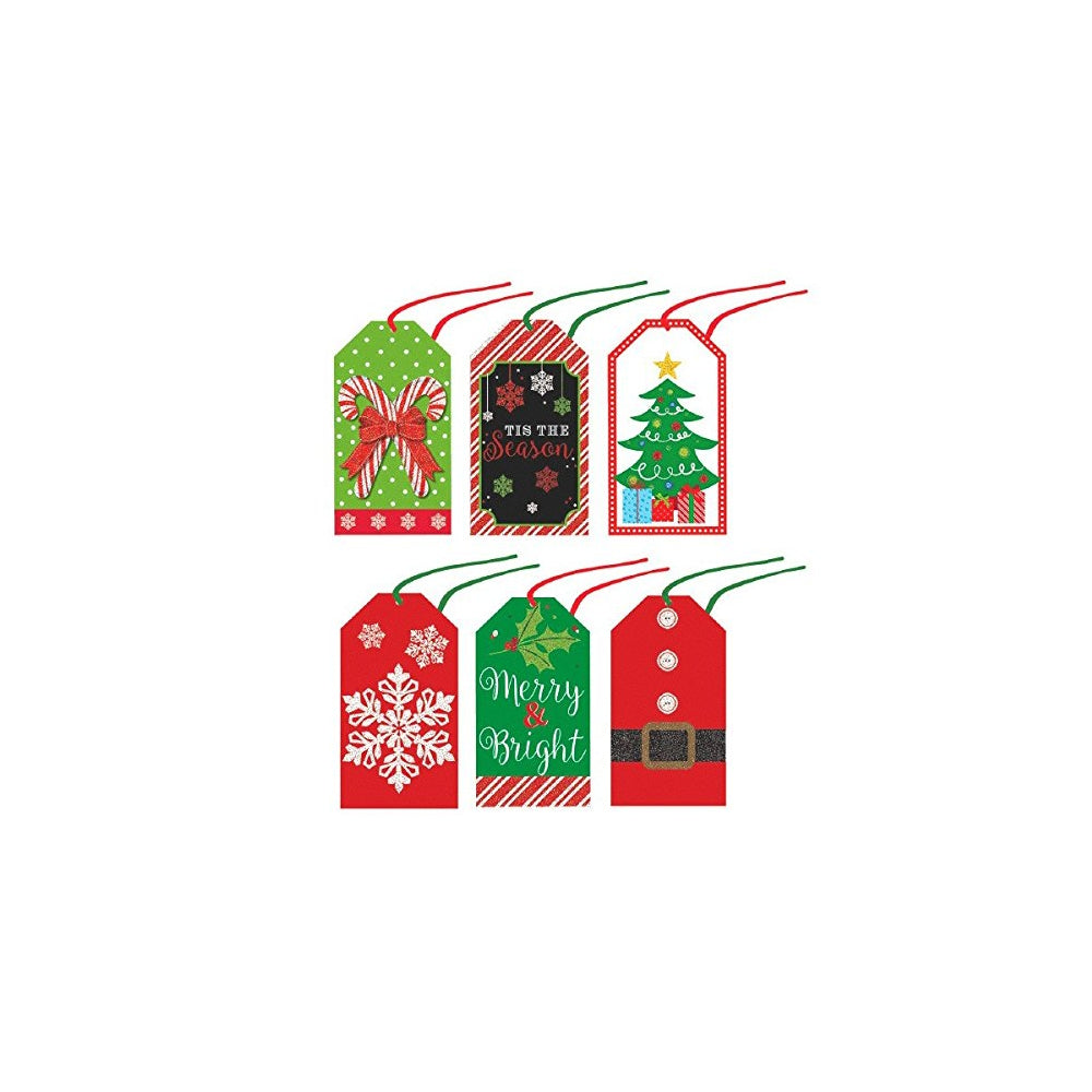 Amscan Tape-On Modern Christmas Paper Tags