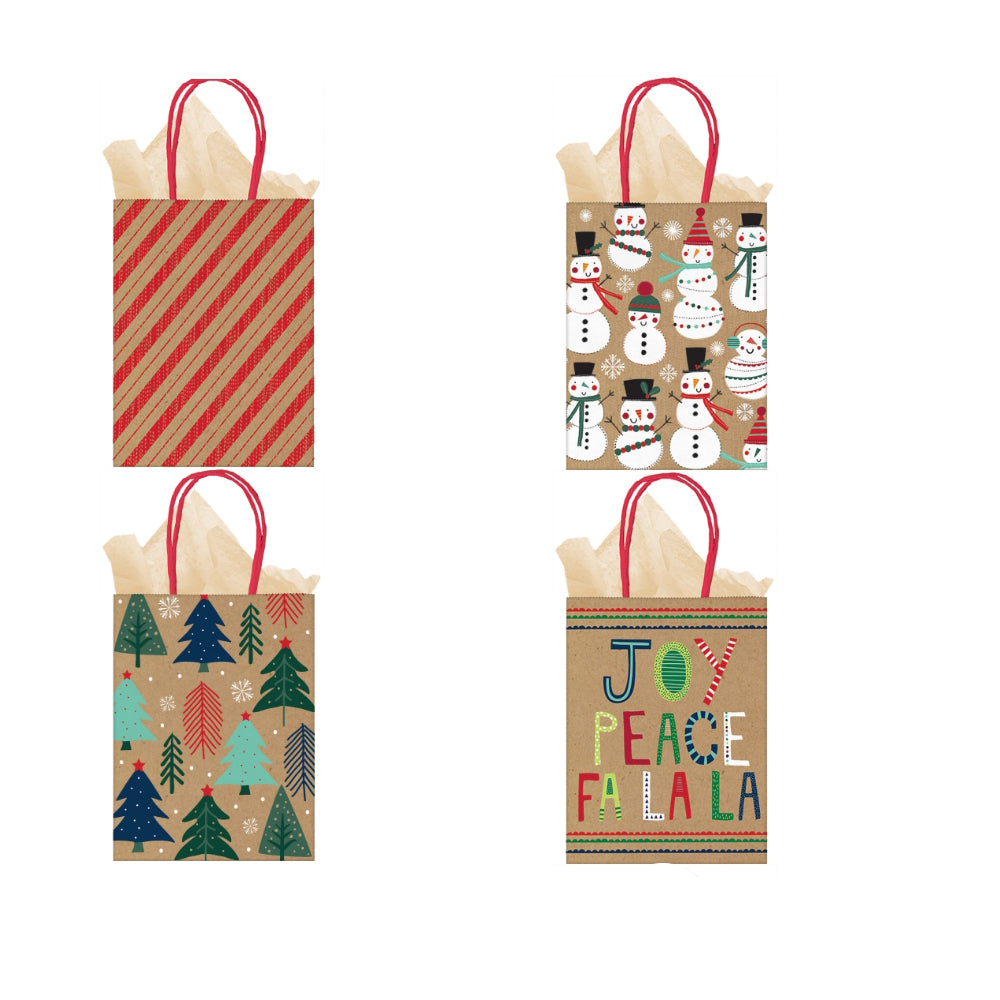 4 Pack Mini Christmas Gift Bags