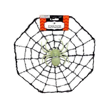 12'' Spider Web With 3 Glow In Dark Spiders