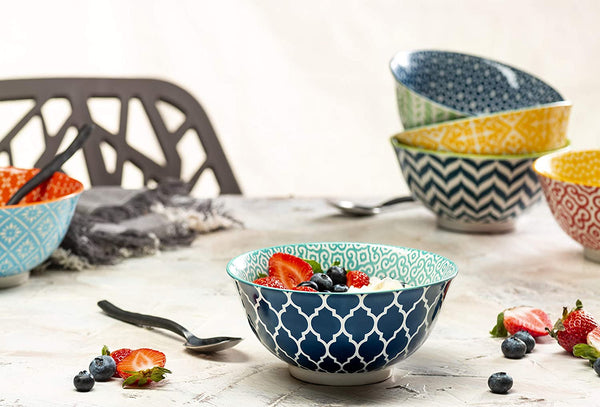 Multi Color Ceramic Cereal Bowls, Set of 6-Dine-Kook-kook